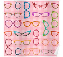Eyeglasses Retro Modern Hipster with Pink Gingham Poster
