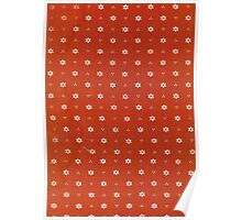 Vintage red fabric with small white flowers Poster