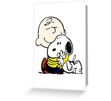 Charlie Brown hugs Snoopy Greeting Card