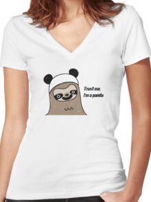 Sloth says trust me, I'm a panda Women's Fitted V-Neck T-Shirt