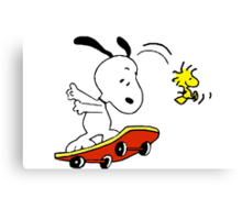Snoopy on skate Canvas Print