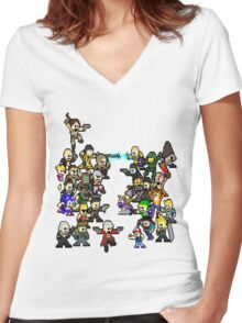Epic 8 bit Battle! Women's Fitted V-Neck T-Shirt