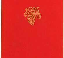 Vintage red bookcover with grapes by Colorello