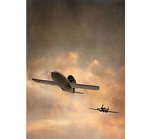 V1 Buzzbomb being chased by a Spitfire Photographic Print