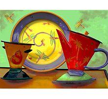 Still life: plate, pitcher, cup Photographic Print