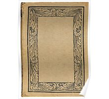 Antique bookcover with floral frame Poster