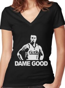 DAME GOOD Women's Fitted V-Neck T-Shirt