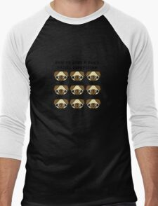 The many facial expressions of a pug Men's Baseball ¾ T-Shirt