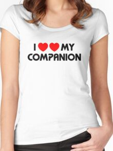 I Two-Heart My Companion Design (White) Women's Fitted Scoop T-Shirt