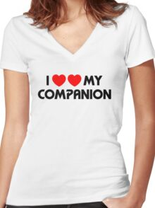 I Two-Heart My Companion Design (White) Women's Fitted V-Neck T-Shirt