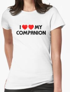 I Two-Heart My Companion Design (White) Womens Fitted T-Shirt