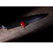 Sharp Knife with Blood Photographic Print