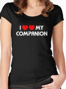 I Two-Heart My Companion Design (Black) Women's Fitted Scoop T-Shirt