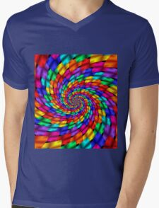 Psychedelic Ribbons Mens V-Neck T-Shirt