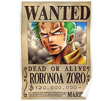 Wanted Zoro - One Piece Poster
