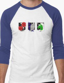 Attack on Titan Emblems Men's Baseball ¾ T-Shirt