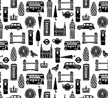 London Block Print - Black and White by Andrea Lauren by Andrea Lauren