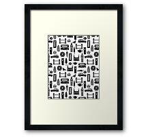 London Block Print - Black and White by Andrea Lauren Framed Print