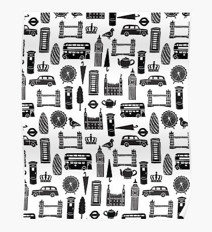 London Block Print - Black and White by Andrea Lauren Poster