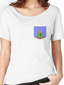 Super Mario Bros Breast Pocket Shirt Women's Relaxed Fit T-Shirt