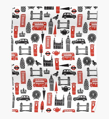 London Block Print - Black and Red by Andrea Lauren Poster
