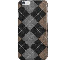 Argyle Print in Brown, Black and Silver iPhone Case/Skin