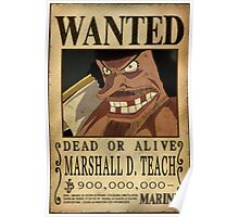 Wanted Blackbeard - One Piece Poster