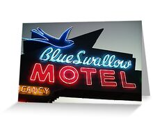 Blue Swallow Motel Neon Tucumcari Greeting Card