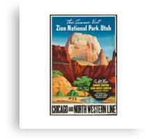 Zion National Park Vintage Art Canvas Print
