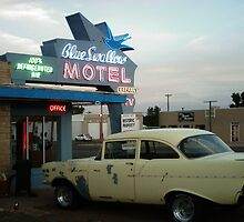 Blue Swallow Motel Neon And Classic Car Tucumcari by Paul Butler
