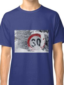 road sign in snowy day Classic T-Shirt