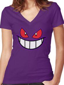 Gengar Monster Purple Pokeball Women's Fitted V-Neck T-Shirt