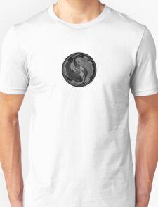 Gray and Black Yin Yang Koi Fish Unisex T-Shirt