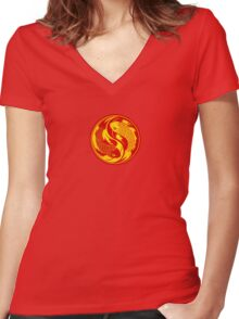 Red and Yellow Yin Yang Koi Fish Women's Fitted V-Neck T-Shirt