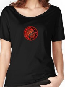 Red and Black Yin Yang Geckos Women's Relaxed Fit T-Shirt