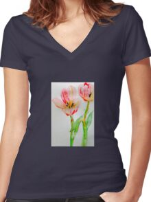 Tulips 2 Women's Fitted V-Neck T-Shirt