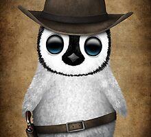 Cute Baby Penguin Wearing Cowboy Hat by Jeff Bartels