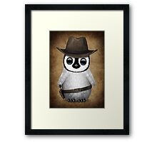 Cute Baby Penguin Wearing Cowboy Hat Framed Print