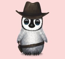 Cute Baby Penguin Wearing Cowboy Hat Kids Tee