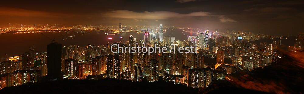 Hong Kong skyline at night by Christophe Testi