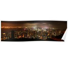 Hong Kong skyline at night Poster