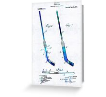 Blue Hockey Stick Art Patent - Sharon Cummings Greeting Card