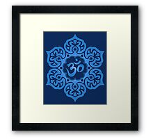 Blue Lotus Flower Yoga Om Framed Print