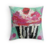 Cupcake and Polka Dots Throw Pillow
