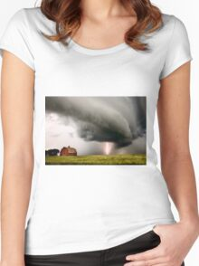 Prairie Storm Clouds lightning storm Women's Fitted Scoop T-Shirt