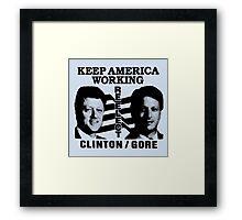 REELECT CLINTON/GORE Framed Print