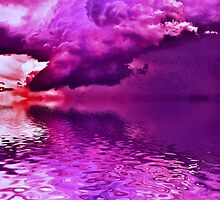 Purple Clouds on Water by Jawaher