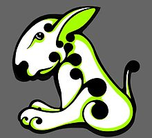 Swirl English Bull Terrier Lime and White  by Sookiesooker