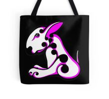 Swirl English Bull Terrier White and Shocking Pink / Black Tote Bag