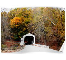 Covered Bridge in Autumn Poster